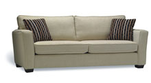 Sofas for healthcare - Retirement home furniture.  Espresso leg finish standard. Also available with Light & Unfinished leg. Available with optional Feathersoft. (Seats & Backs)
