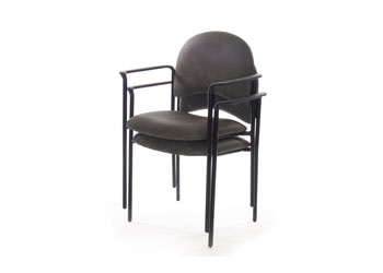 Metal stacking chair. Black frame & arms.
